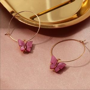 Handcrafted Butterfly hoops earrings - mauve